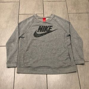 Nike Womens Pullover Sweater Grey Black Pockets